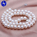 Natural Pearl Necklace jewelry 100% Real White Freshwater Pearl Necklaces Silver clasp Gold Plated for women wedding