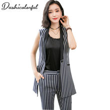 Blazer casual waistcoat women long suit vest female jacket coat stripe sleeveless office lady two piece set top and pants