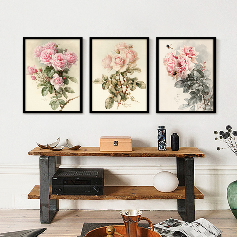 Nordic Green Leaf Plants Rose Wall Art Style Painting Modern Canvas Painting Corridor Living Room Home Decor Carteles e impresiones