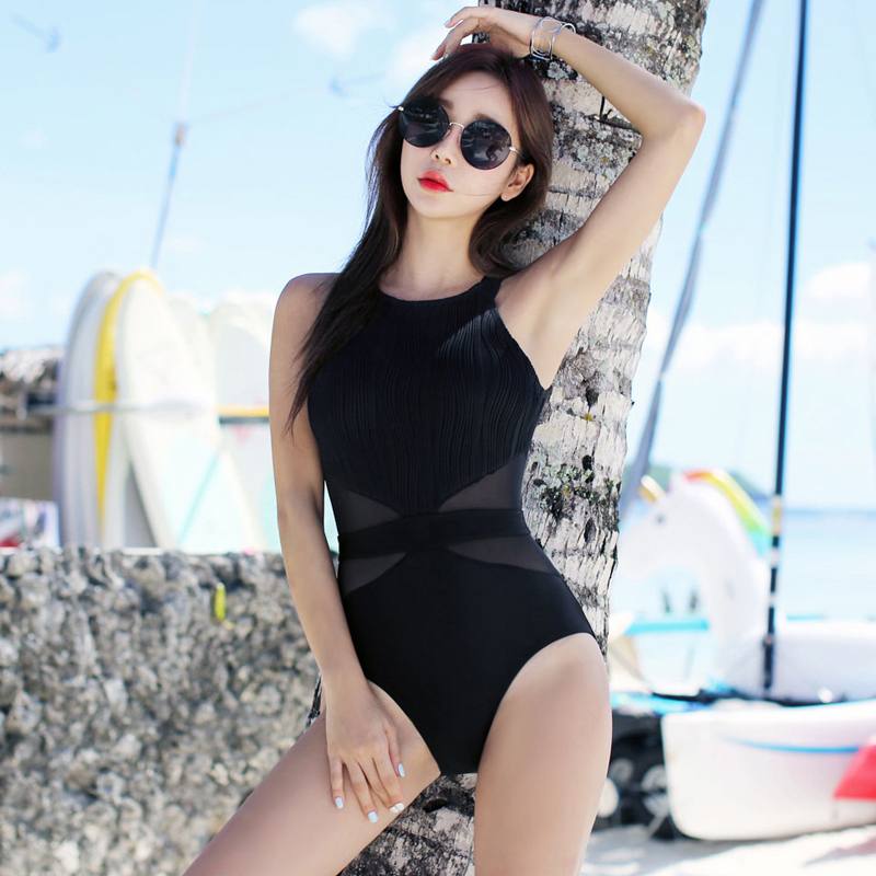 One Piece Women's Swimsuit Swimwear Girls One-Piece Female Swimsuits Sexy Women Thorax Close Korean Solid Polyester Sierra