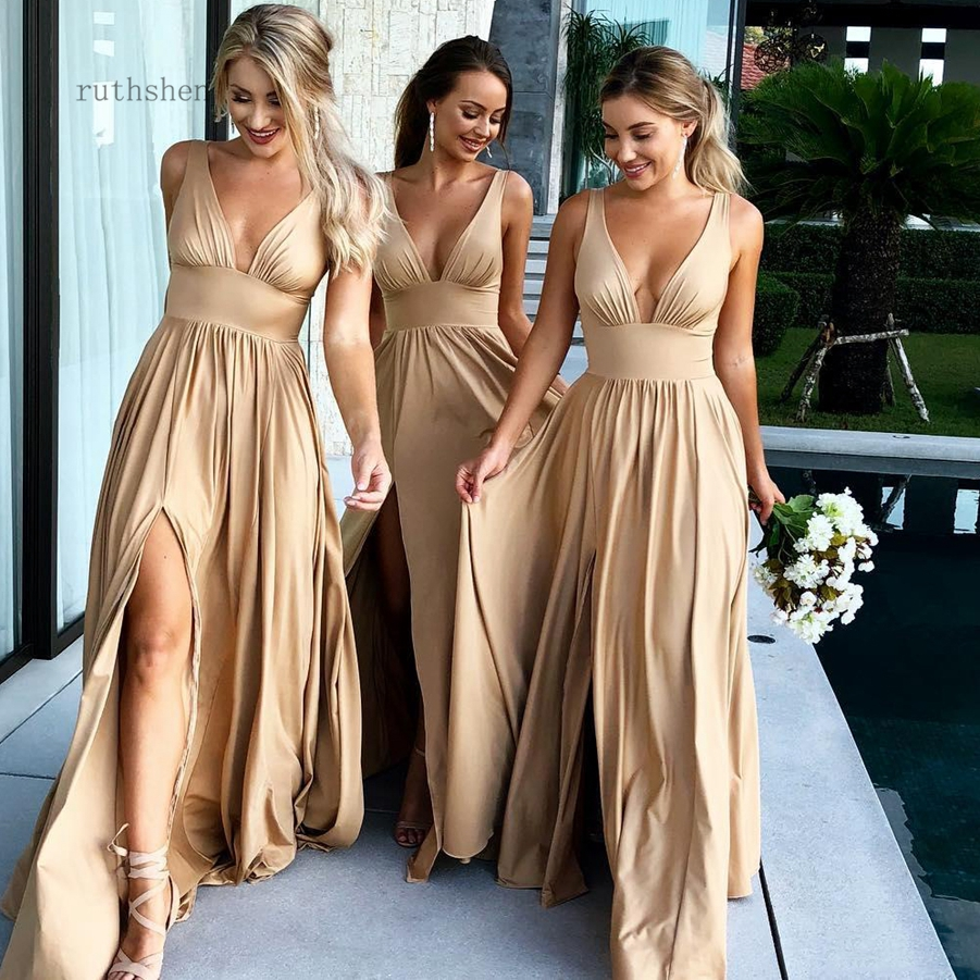 Summer Champagne   Bridesmaid     Dresses   2019 Sexy V-Neck A-Line Long Maid of Honor Gowns with Split Formal Wedding Guest   Dresses