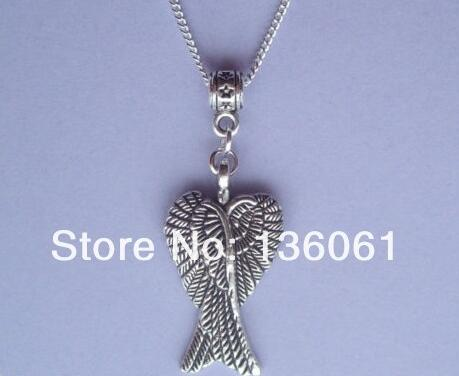 Vintage Silver Guardian Angel Wings Necklace Pendants Charm Chain Statement Collar Choker Necklace DIY Jewelry NEW Hot Sale