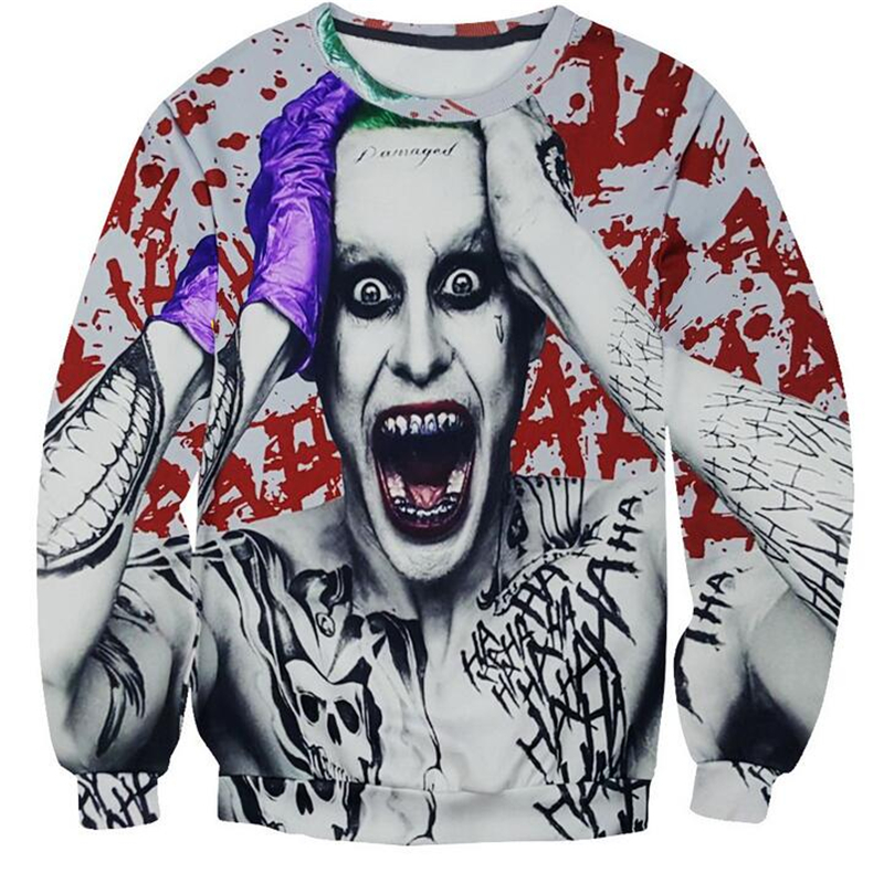 New Men 3D Sweatshirts Harajuku Suicide Squad Joker Printed Hoodies Rock Cool Crewneck Long Sleeve Sweat Pullover Tops Tracksuit