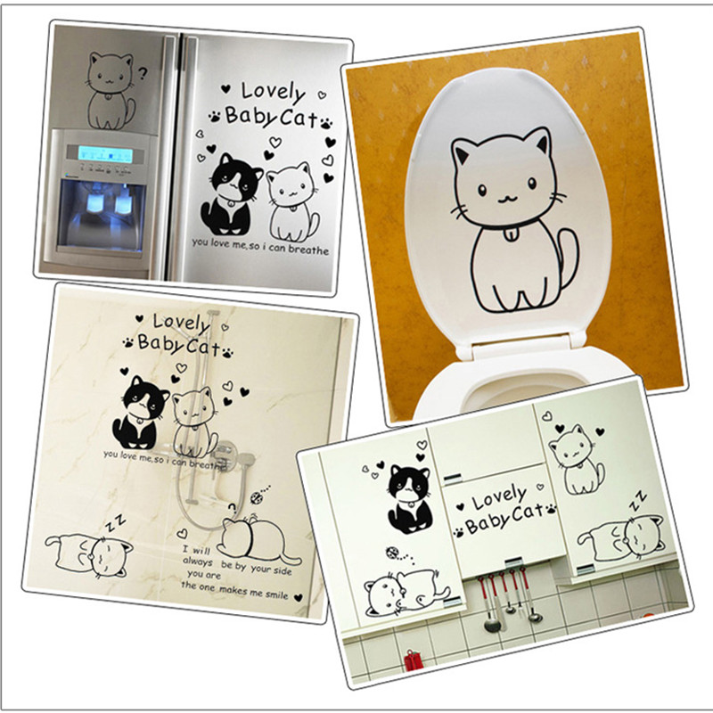 Cartoon Cute Cat Wall Stickers For Bathroom Staircase Removable