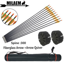 12pcs Archery Fiberglass Arrow With Quiver Splitter Spine 300 Children Kids Gift Training Shooting Accessories