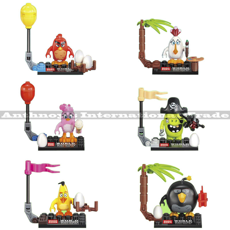 6pcs/set <font><b>Crazy</b></font> <font><b>Birds</b></font> <font><b>Movie</b></font> Minifigures Toy 2016 BOMB PIG PIGGY <font><b>RED</b></font> <font><b>Stella</b></font> Chuck <font><b>Matilda</b></font> PINK <font><b>BIRD</b></font> <font><b>Cartoon</b></font> christmas