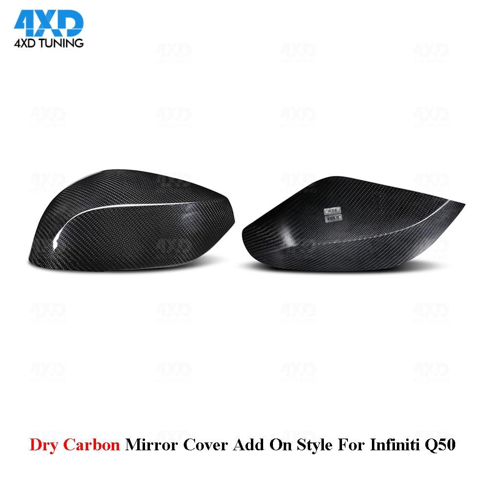 Q50 Mirror Cover For Infiniti QX30 Q70 Q60 Q50S dry Carbon Fiber Rear View mirror cover