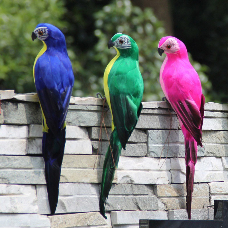25cm Handmade Simulation Parrot Creative Feather Lawn Figurine Ornament Animal Bird Garden Bird Prop Decoration