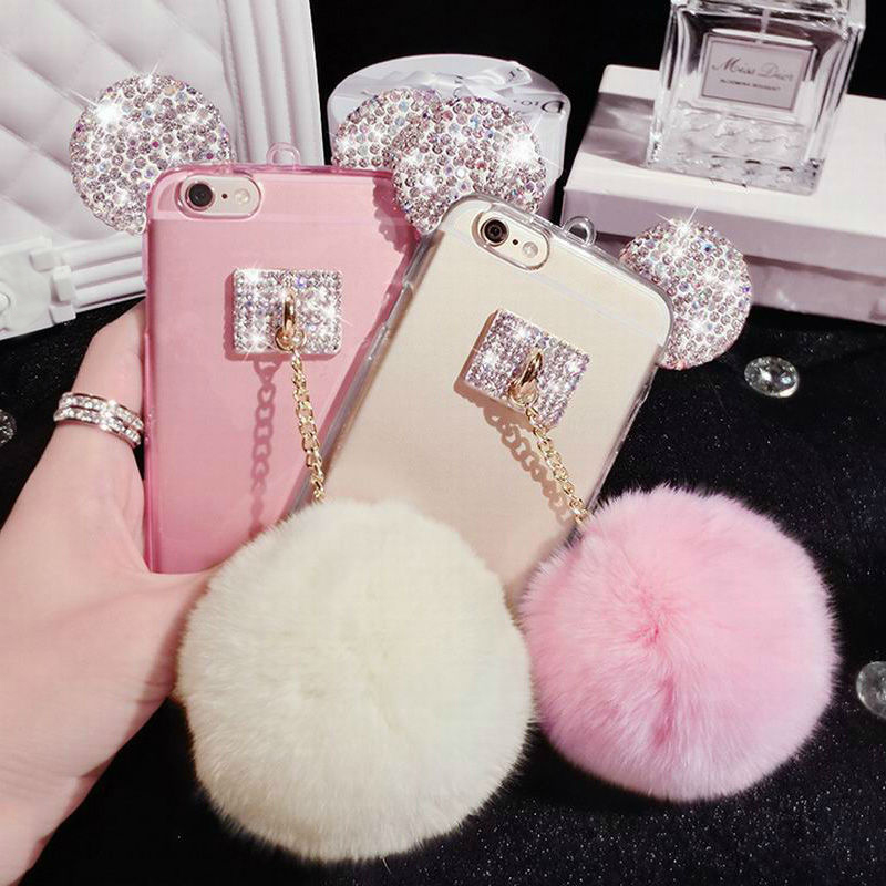 save off ca7e0 4d84d US $5.38 |Hot~~Luxury DIY Fur Ball Crystal Mickey Head Soft TPU Phone Case  With Lanyard Phone Back Cover For Iphone 5S 6 6S 6Plus 6S Plus on ...