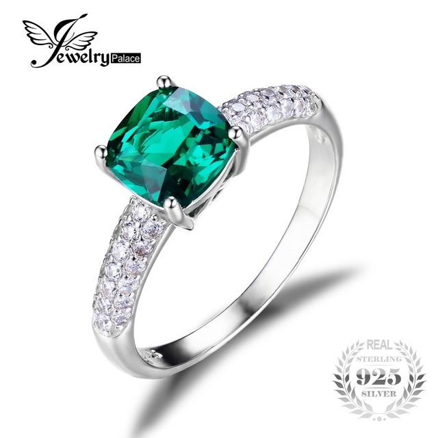 JewelryPalace Cushion 1.8ct Green Russian Nano Created Emerald Solitaire Engagement Ring For Women 925 Sterling Silver Jewelry