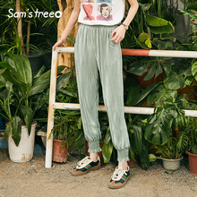 Samstree Summer Harem Pants Vintage Women Fashion New Radish Elastic Waist Casual Loose Young Lady Thin Soft Bottoms
