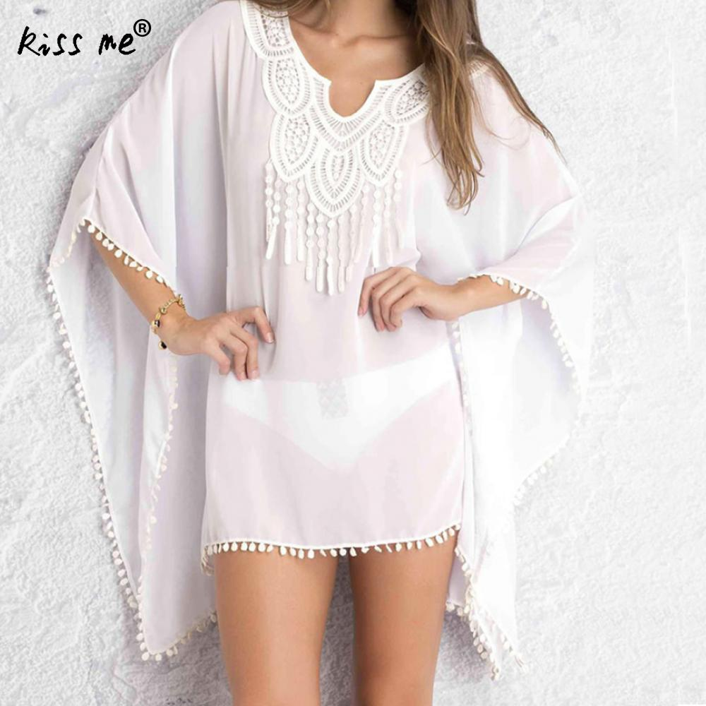 6e258bbe4c9b3 Loose Beach Cover Up with Tassels Lace Patchwork Beach Dress Bat Type Women's  Tunic Beachwear Cover