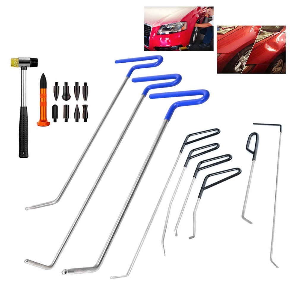 B7 Auto Body Door Dings Hail Repair Hook Tool Dent Removal Paintless Dent Repair Spring Steel Pdr Push Rod Car Crowbar 1pcs Tools Tool Sets