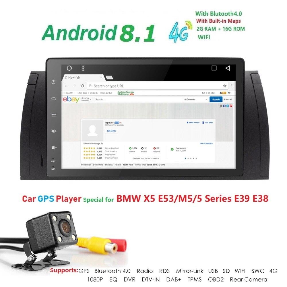 Hizpo 9 pouces 1024x600 HD écran tactile 1 din Android 7.1 voiture multimédia Radio stéréo pour BMW E39 E53 X5 Wifi 3G Bluetooth DVR RDS - 3
