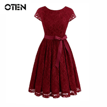 OTEN lace party dress Elegant Women Cap Sleeve Backless Summer Knee Length pin up Casual vacation  dresses vintage kleding 2018