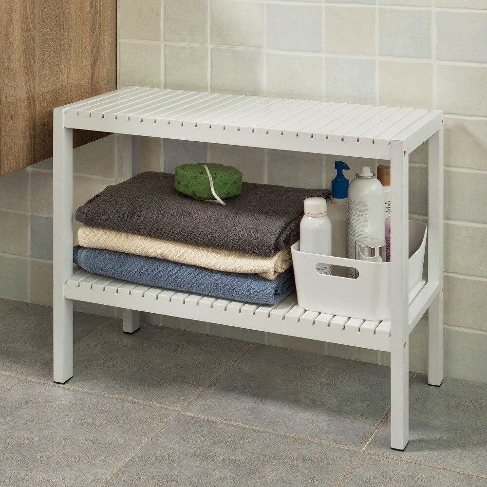 SoBuy FSR14 W White 100 Bamboo Bathroom Shelf Shower Shelf Shoe Rack Storage