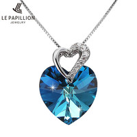 LEPAPILLION 925 Sterling Silver Women Necklace From Swarovski Crystal Fine Jewelry Blue Heart Pendant Necklace Mother