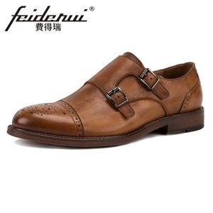 Винтажная Мужская обувь в британском стиле из натуральной кожи с двойными ремешками на плоской подошве с круглым носком ручной работы; Мужс...