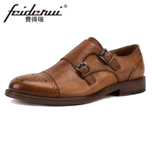 Vintage British Designer Genuine Leather Men's Double Monk Straps Flats Round Toe Handmade Man Formal Dress Brogue Shoes KUD39 beautoday monk shoes women buckle straps genuine leather calfkin round toe lady flats handmade brogue style shoes 21408