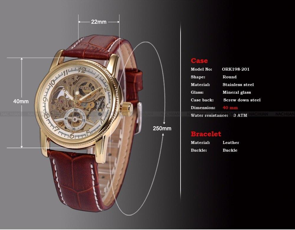 Men Wrist Watches Luxury Golden Skeleton Mechanical Steampunk Male Clock Automatic Wristwatch Leather Strap Herren Horloges