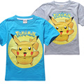 Boys T Shirt 2016 New Style Pokemon Go Clothes  Cartoon Pikachu Child Print Shirt Kids Summer Clothes Top 3-9year