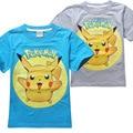 Camiseta meninos 2016 Novo Estilo de Roupa Dos Desenhos Animados Pikachu Pokemon Ir Camisa Impressão Criança Crianças Roupas de Verão Top 3-9year