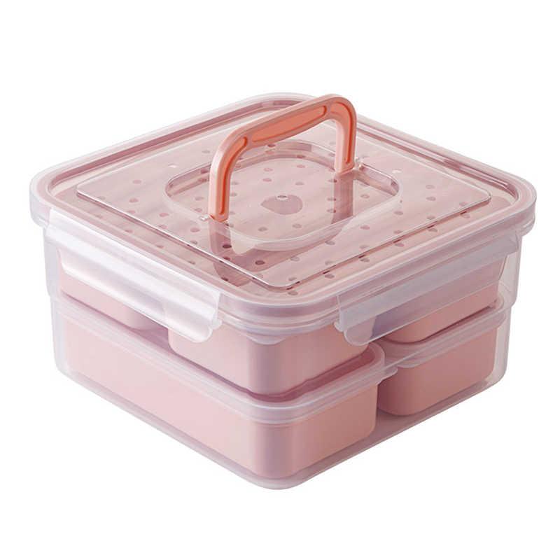 Conjunto Lancheira Microondas Independente TUUTH LatticeLeak-Frigorífico À Prova De Caixa de Armazenamento Portátil Bento Box Para Crianças Colarinho Branco