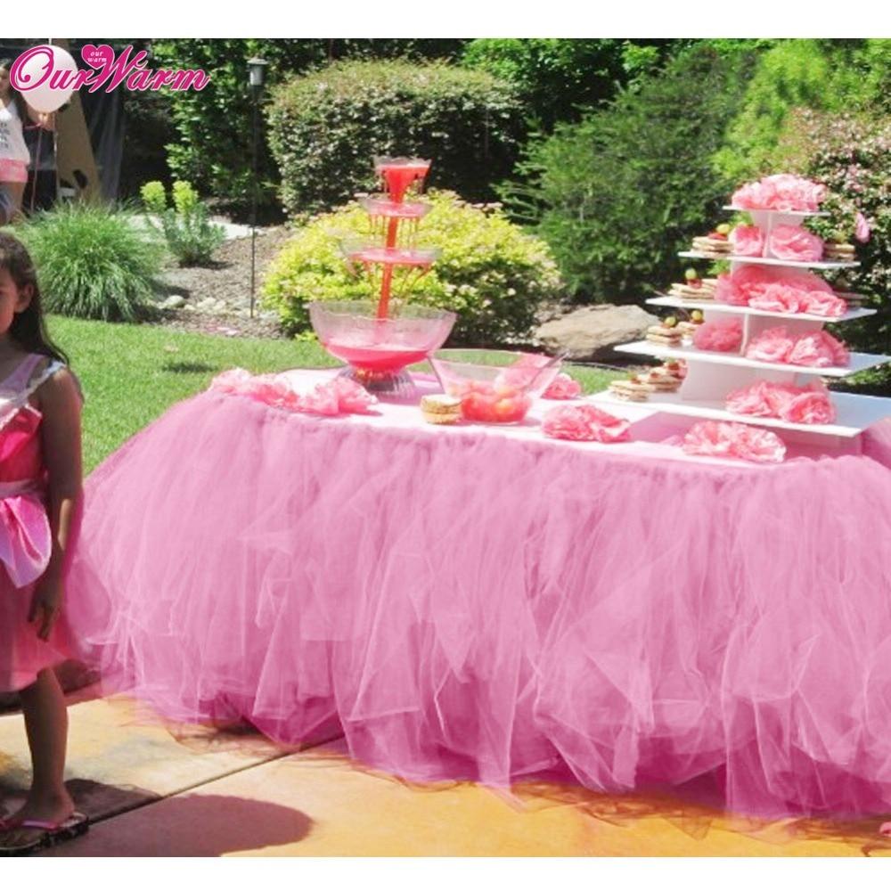 3268071ad Nuestra cálida falda de mesa de tul DIY tutú tela de vajilla para la  decoración de la boda bebé ...