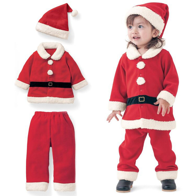 New Girls Winter Clothes Fashion Girls Christmas Outfit Red Santa Christmas Pajamas Three Piece Baby Christmas Outfits Set 2015 new arrive super league christmas outfit pajamas for boys kids children suit st 004