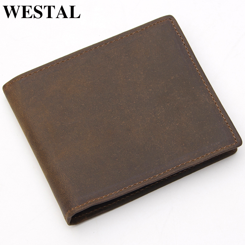 WESTAL RFID Wallet Card-Holder Coin-Purse Genuine-Leather Male Credit Men 608