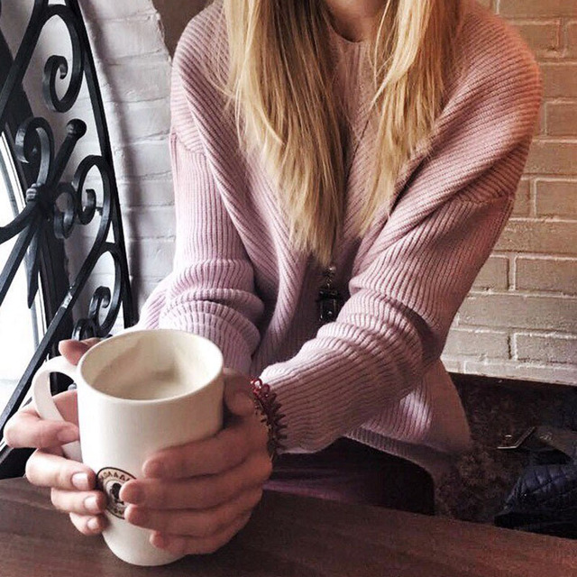 Yeeshan Batwing Sleeves Sweater Women Wool Rabbit Hair Complex Material V-neck Sweaters Long Sleeves Light Pink Winter Sweater