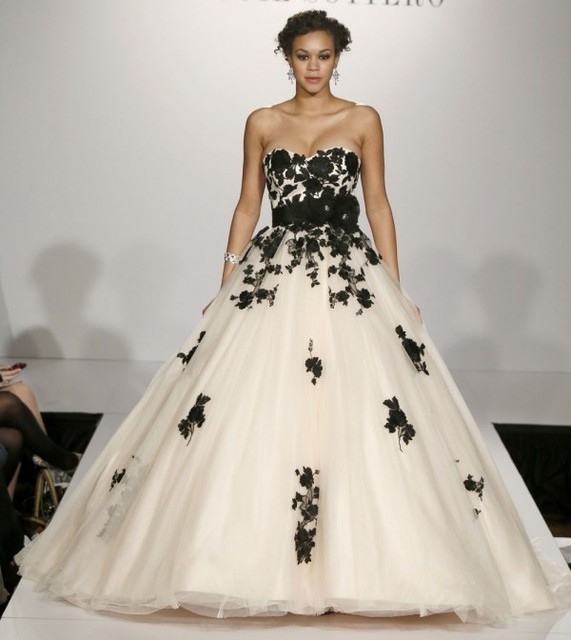 2015 Zuhair Murad Sweetheart Black And White Ball Gown Fashion ...