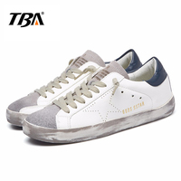 TBA Brand Designer 2018 Italy Golden Genuine Leather Casual Women Shoes Trainers Goose Star Breathe Shoes