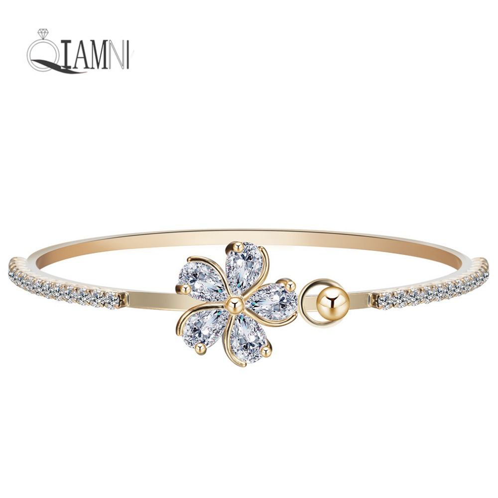 QIAMNI Love Wedding Party Jewelry Beautiful Flower Cubic Zircon Bracelet Bangle Charms for Girl Women Bridal Gift Accessories