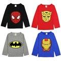 Camisa de T das crianças Superhero Spiderman Batman Ironman Capitão Meninos Camisas de Manga Longa T