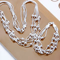Hot Sale Wholesale 925 stamped silver plated Fashion Jewelry Set,Five Line Light Beads Silver Necklace&Bracelet Sets