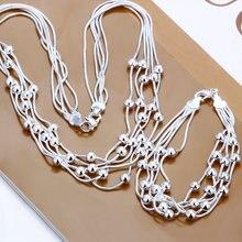 Venta Al Por Mayor caliente 925 estampado plateado plata de Joyería de Moda Set, Cinco Líneas de Granos Ligeros de Plata Collar y Pulsera Conjuntos