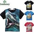 Meninos camiseta jurrasic parque do dinossauro t-shirt para pioneer crianças curto-de mangas compridas roupas de bebê verão dos desenhos animados crianças tops de algodão
