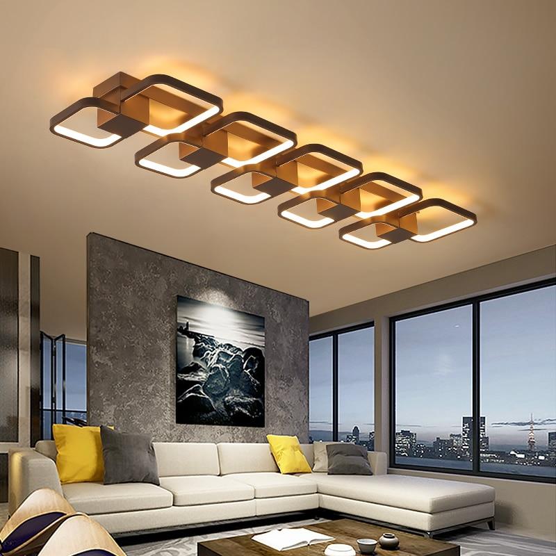 Coffee Color Dimmable RC Led ceiling lights For Living Room Bedroom balcony decoration 110V 220V Modern