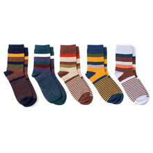 Striped Cotton Socks for Men 5 Pairs Set