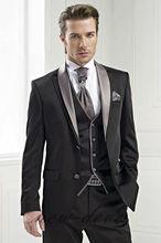 Black Lapel 3Pcs Tuxedos Wedding Mens Suits 40r 42r 44r 46 Slim Fit Custom