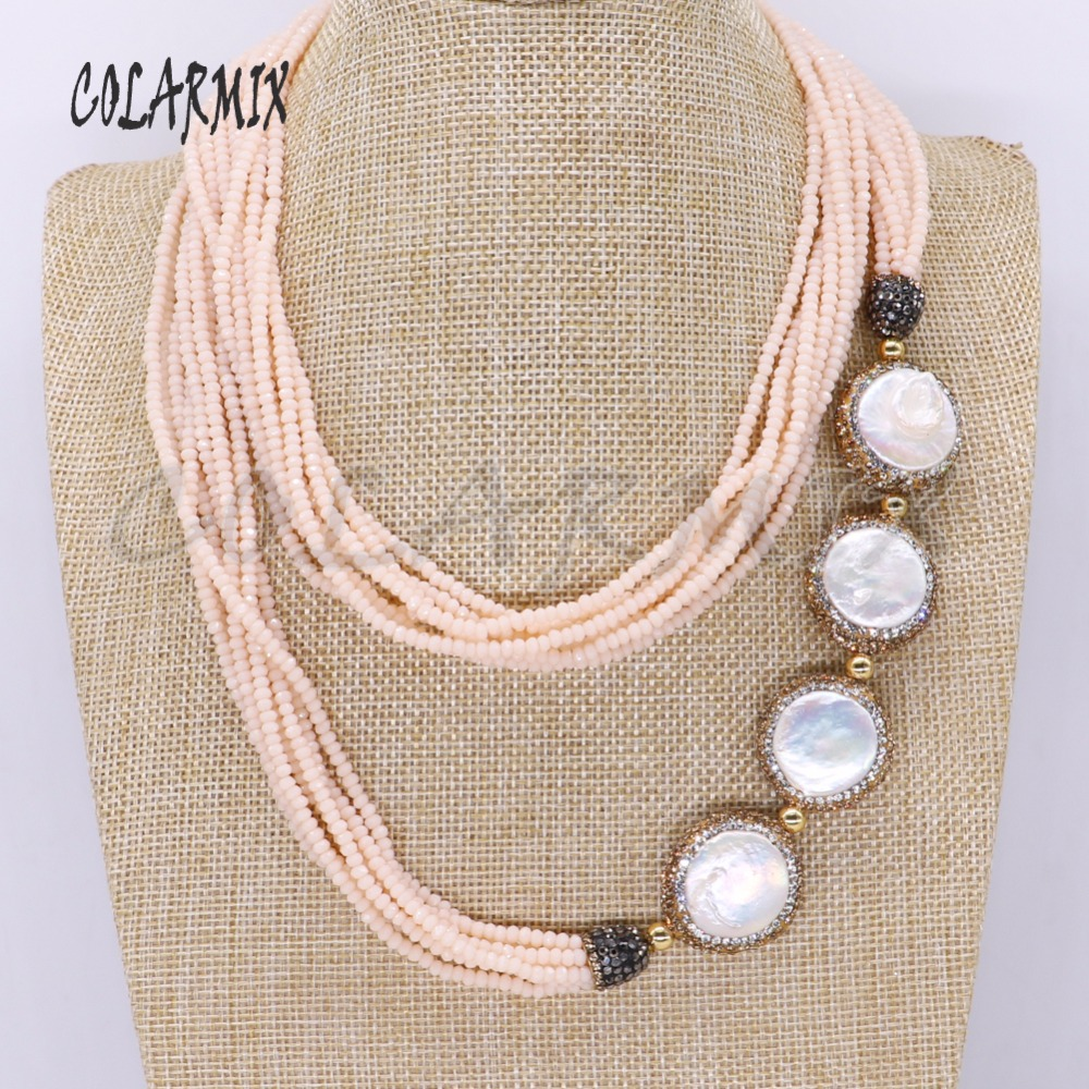 3 Strand 4 Pearls long necklace Champagne colors beads 8 pieces chain long necklace fashion gift for lady party jewelry 4256 free shipping imitation pearls chain flatback resin material half pearls chain many styles to choose one roll per lot