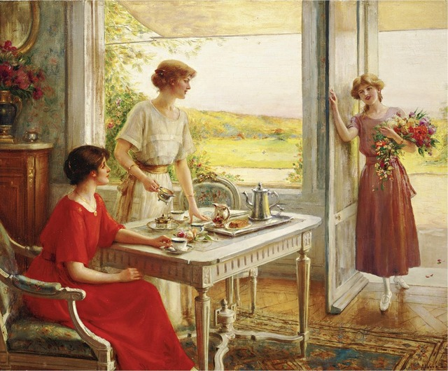 Oil Painting Time For Tea by Albert Lynch Canvas Prints Art ...