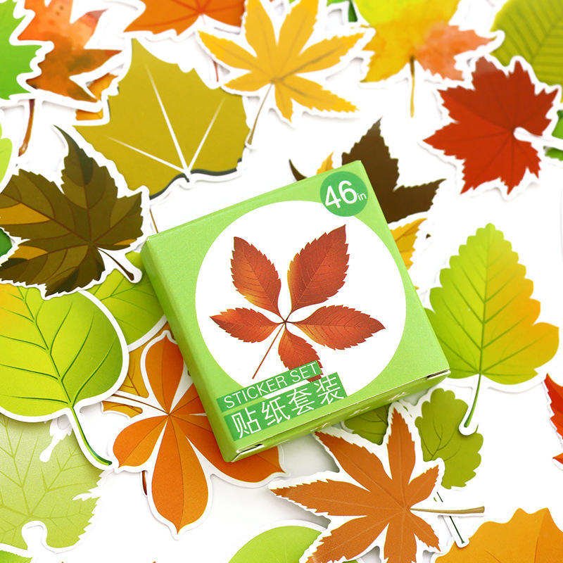 46 pcs/pack The Leaves of Autumn Label Stickers Set Decorative Stationery Stickers Maple leaf decoration stickers jacquard green label silk colors cyan [pack of 3 ]