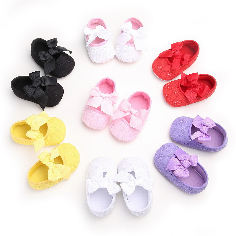 LANSHITINA 0-18Months Skid-Proof First Walkers Shoes Baby Newborn Girls Bow Soft Soled Non-slip Footwear Crib Shoes Soft 447