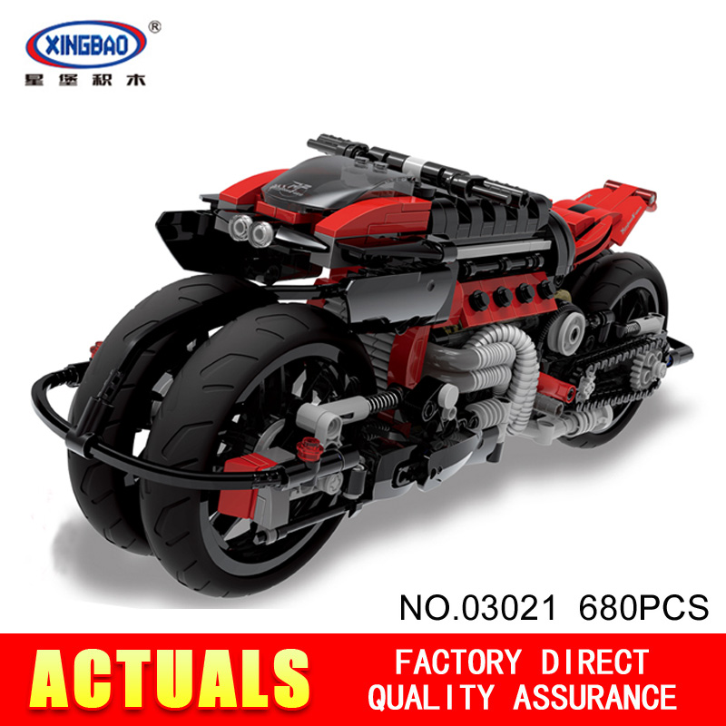 Xingbao 03021 680Pcs Technic Series  Off-road Motorcycles  Building Blocks Bricks Educational Toys Boy Gifts Model lepin 20032 technic series the bamw off road motorcycles r1200 gs building blocks bricks educational toys 42063