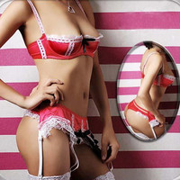 Red Faux Leather One Size Shelf Bra Open Haf Lace G String Skirt Garter Belt New