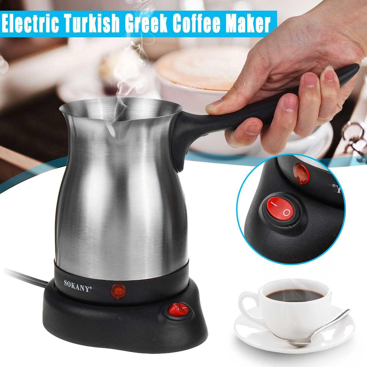 Stainless Steel Electric Turkish Greek Coffee Maker 220V-240V 800W Machine Espresso Moka Pot Waterproof IPX4 Mulfunctional