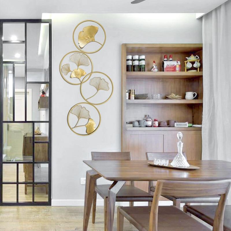Nouveau chinois créatif Six anneau Ginkgo feuille Xuanguan chinois décoration murale salon décoration murale suspendus décoration murale