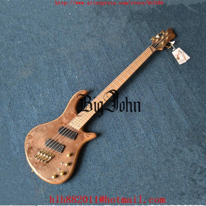 Livraison gratuite nouvelle arrivée Big John guitare basse électrique 5 cordes en naturel avec matériel en or F-3420